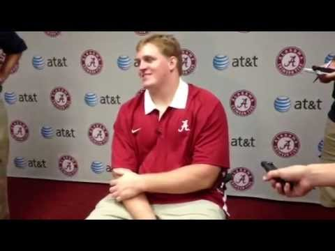 Barrett Jones talks to reporters