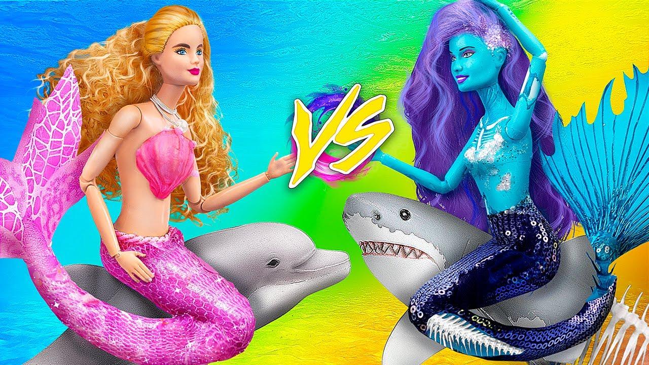 Zombie Mermaid vs Fairy Mermaid / 10 Barbie DIYs