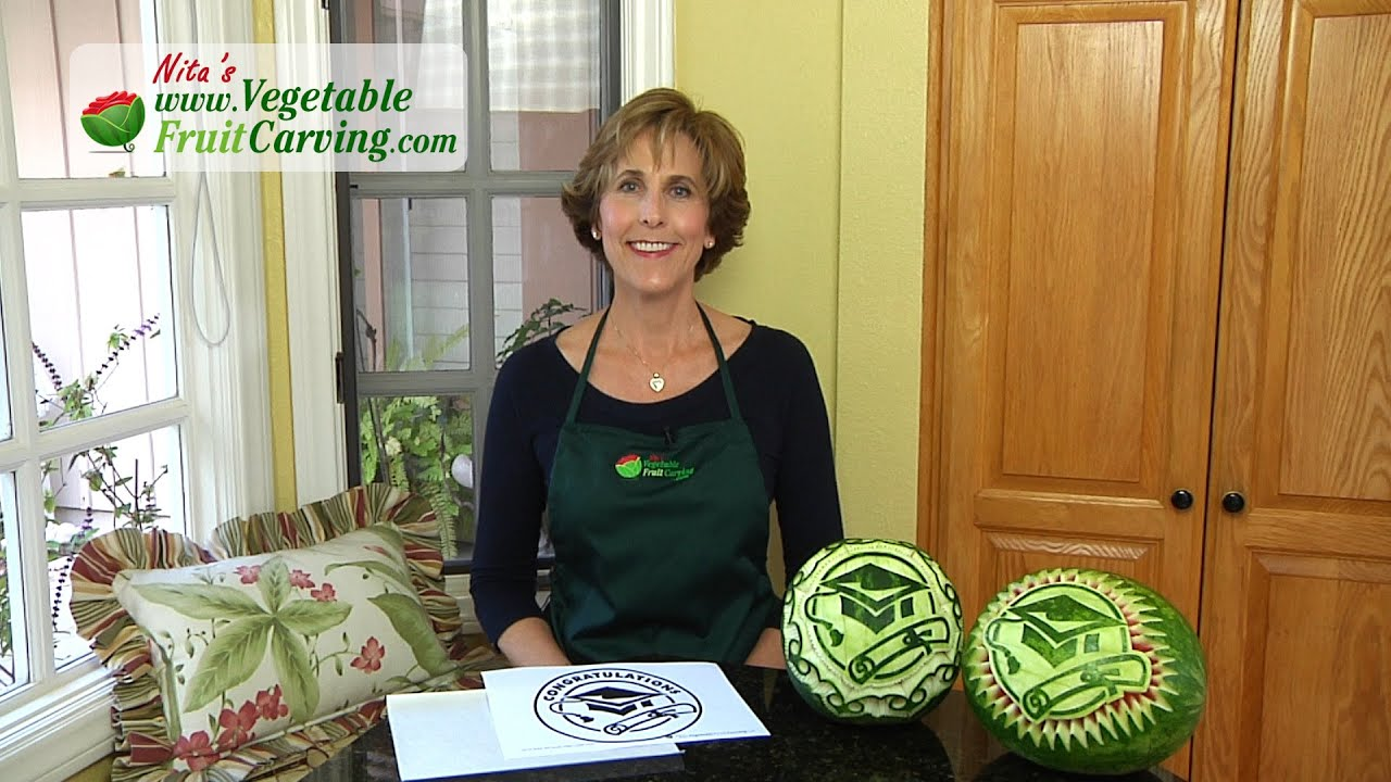 Graduation watermelon carving fruit tray - YouTube