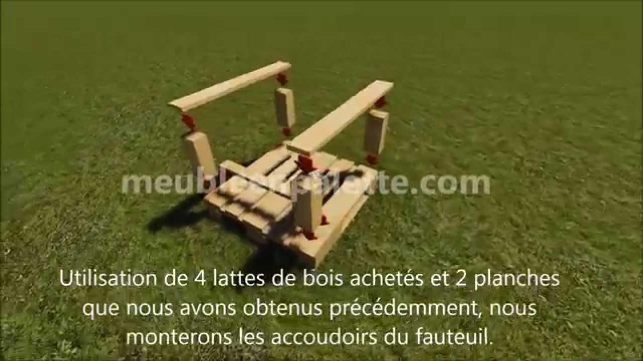 Fauteuil de jardin en palettes youtube for Fabrication de fauteuil de jardin en palette