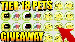 RAINBOW TIER 18 PETS GIVEAWAY AND RARE PET HUNT IN PET SIMULATOR! (Roblox)