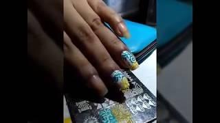 nail art stamping with local nail polishes