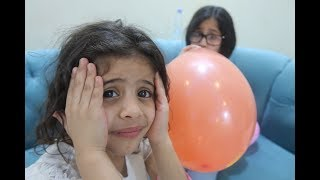 Exploding Balloons Challenge with Hamda and Her Sisters 😱😂 حمده وخواتها | تحدي البلونات المنفجره