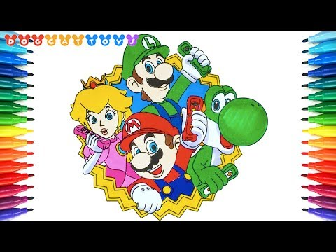 How To Draw Super Mario Bros Mario Luigi Yoshi Peach 235 Drawing Coloring Pages Video For Kids Youtube