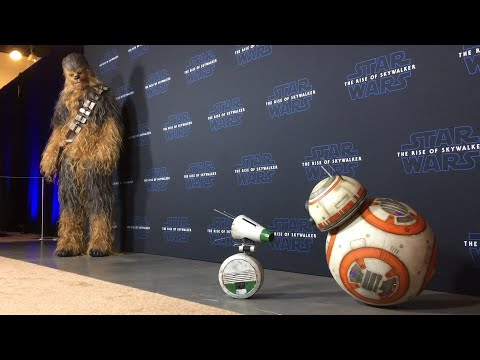 BB-8 & D-O with Chewbacca at Star Wars: Rise of Skywalker Press Conference w/Look at Merchandise