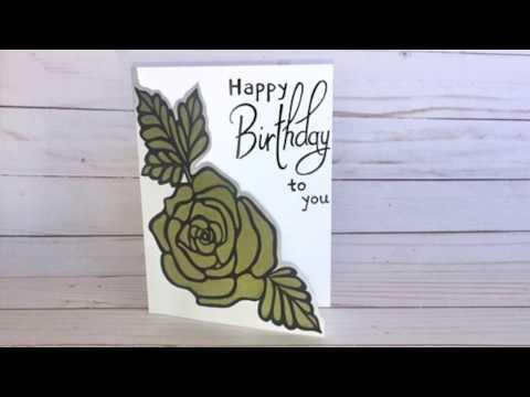 Happy Birthday Rose Cut-Out Design Card | Tutorial | Easy DIY Card | Design. Draw. Create.