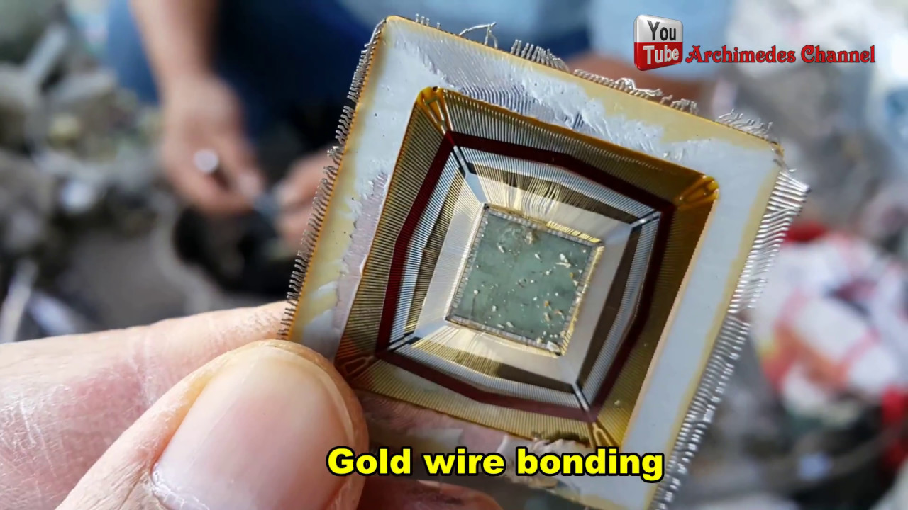 Ic Chips Gold Recovery Make Money Was Hidden In Electronic Macro Shot Of Integrated Circuit Many Uses The Electronics Devices Wire Bonding