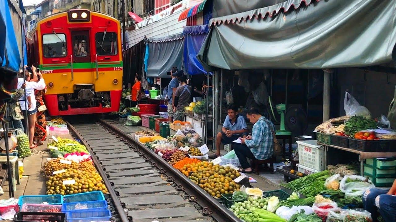Image result for train market bangkok