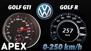 2018 VW Golf GTI vs. VW Golf R - Acceleration Sound 0-100, 0-250 km/h | APEX