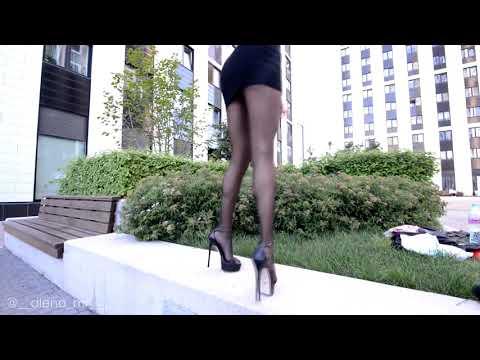 Walking Pantyhose  Fashion  Mini Dress Long Legs
