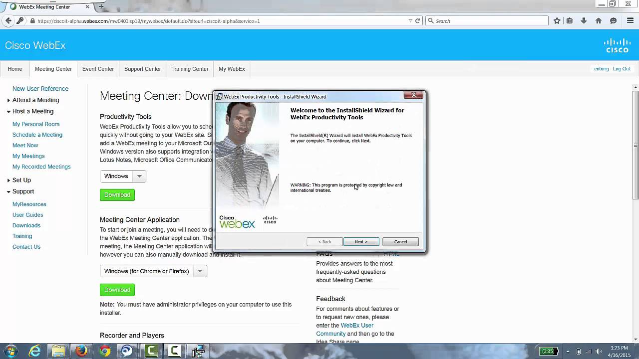 WebEx Productivity Tools Installation (WINDOWS) - YouTube