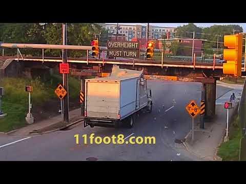 Red-light runner crashes truck into the 11foot8 bridge