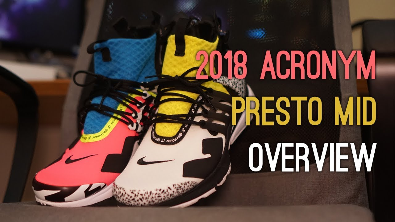 4a436de2e8c9 Acronym x Nike Air Presto Mid (Pink   Yellow) Overview - YouTube