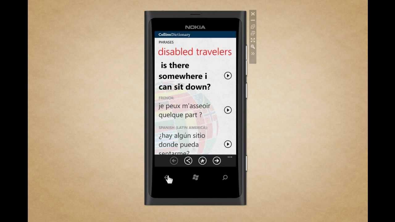 Collins Dictionary for Windows Phone - Collins Translator - English to  Spanish
