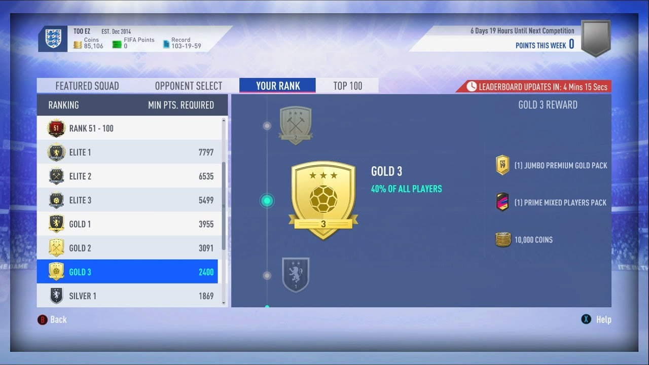 Fifa 19 Squad Battles Rewards squad battle rewards & road to silver 1 fut champs!!! fifa 19 (day 10)