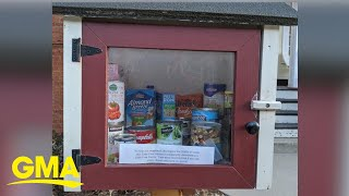 Free little library turns into free food pantry where neighbors leave essentials l GMA Digital