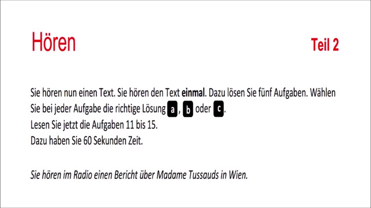 Goethe ösd Zertifikat B1 Hören Kompletter Modelltest Mit Lösungen