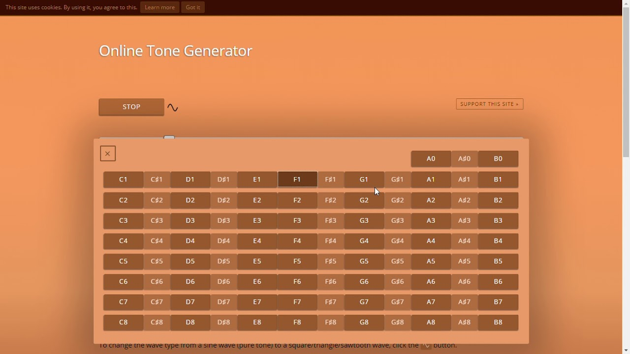 FromTheWeb: Online Tone Generator generate pure tones of any frequency