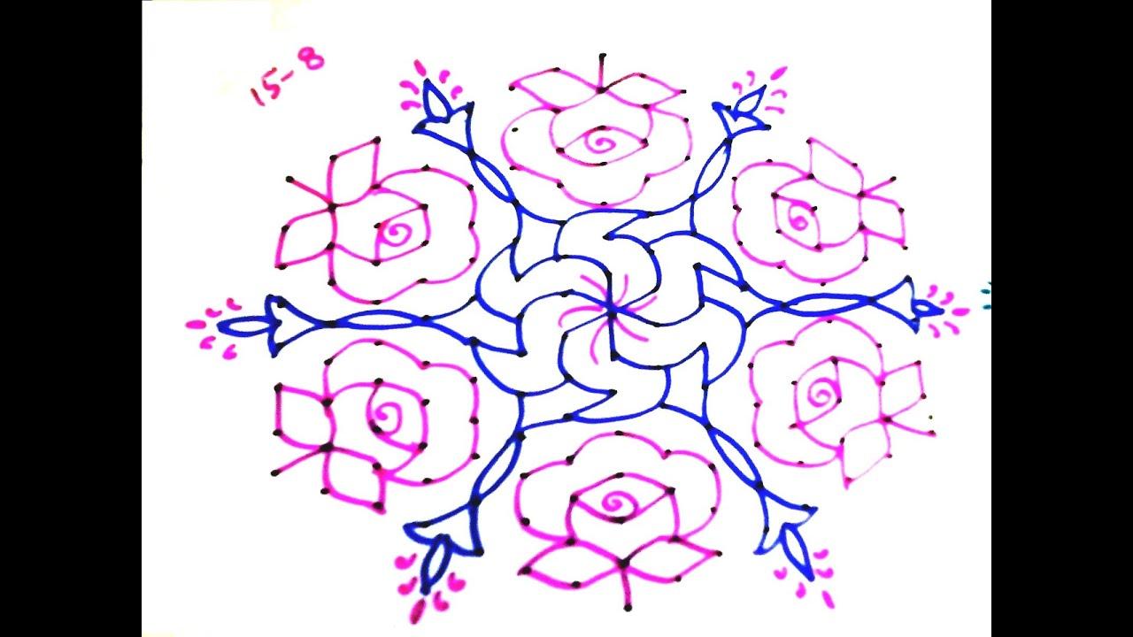 144 15x8 dots design flower rose rangoli muggu kolam telugu