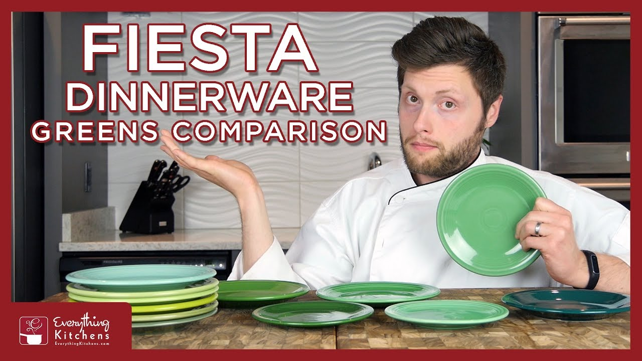 Fiesta Dinnerware Green Comparison - Meadow, Vintage Sea Mist, Chartreuse  p86, Evergreen, Shamrock