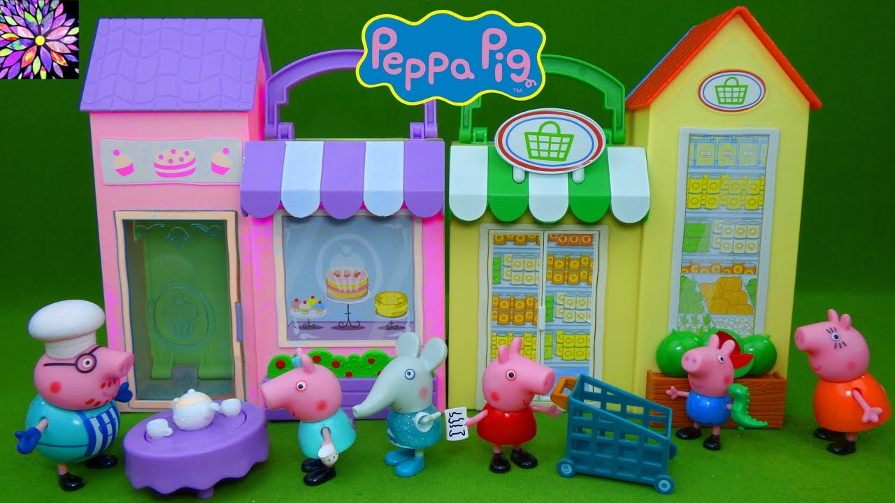 Peppa Pig Toys Little Bakery Shop Little Grocery Store Playset Cooking With Daddy Pig Tea Time Toys