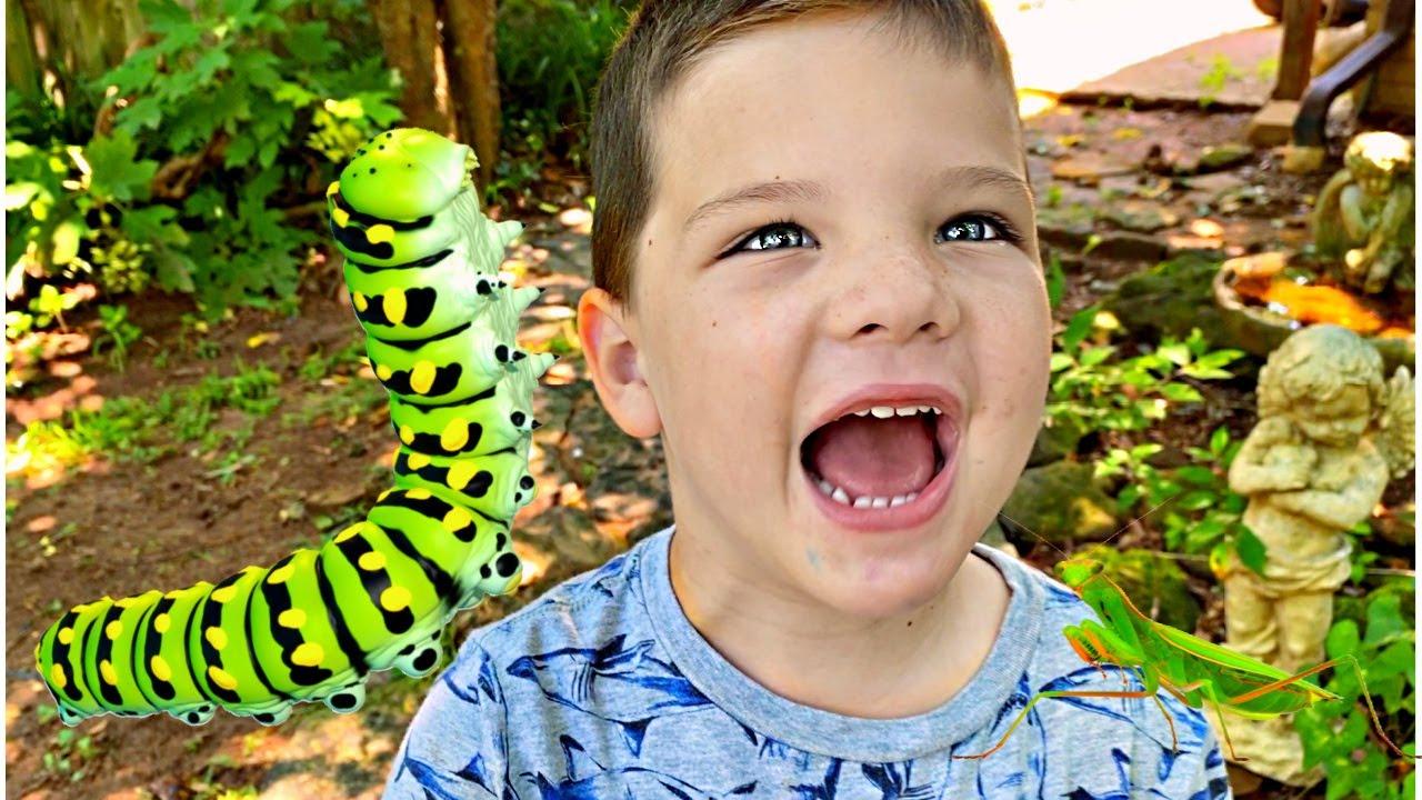 BUG HUNT AT GRANDMAS HOUSE! Catching Bugs with Caleb & Mommy Backyard Adventure!