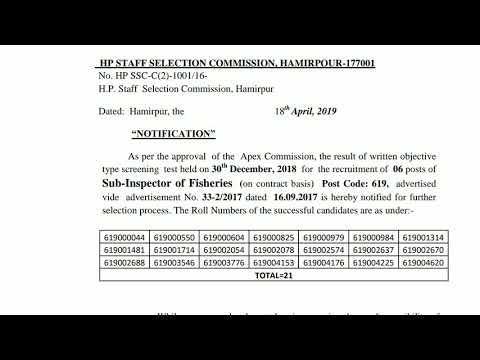 HPSSSB Hamirpur Sub Inspector Of Fisheries Post Code 619 Written Test Result