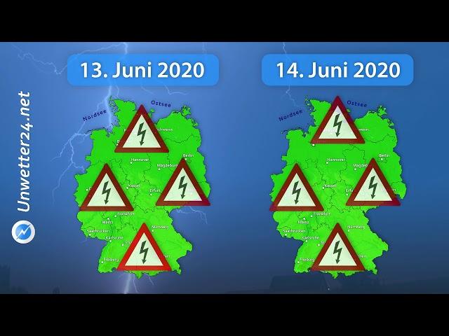Übersicht: Schwere Gewitterlage 13. und 14. Juni 2020