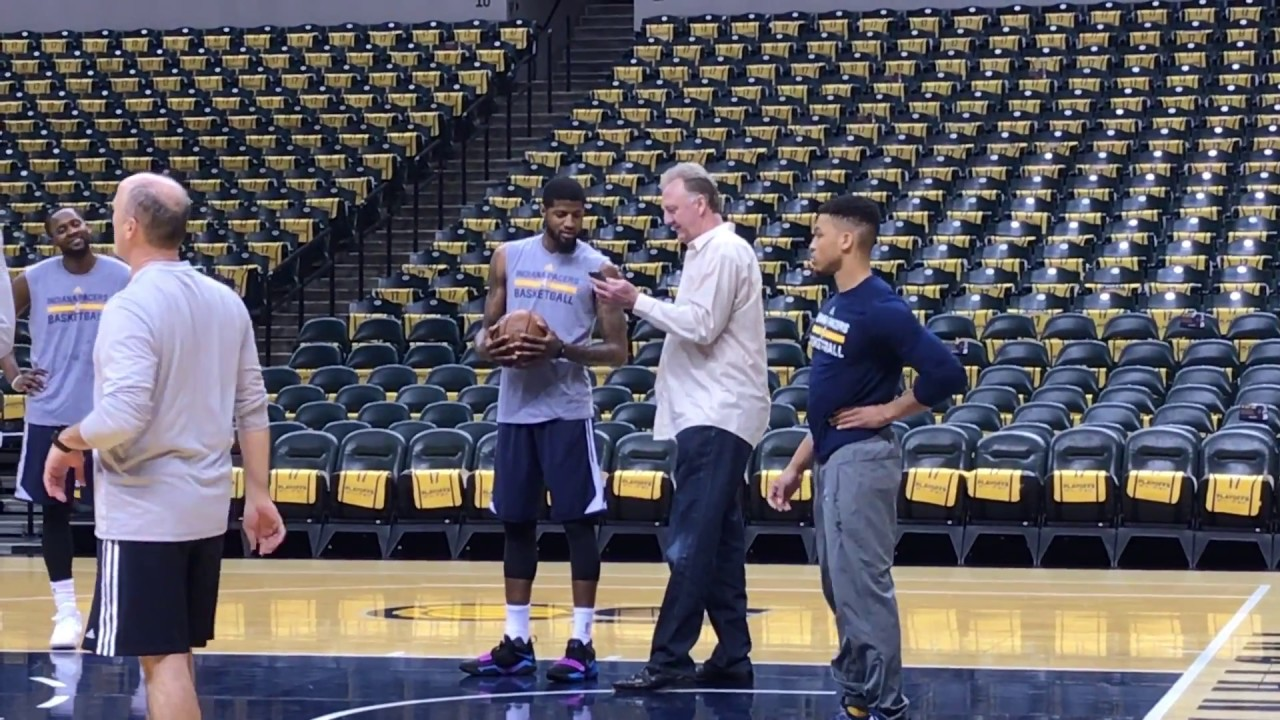 6e406b2d2f3 Larry Bird shows Paul George photo of crappie a friend caught - YouTube