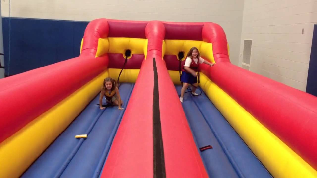 inflatable bungee run game youtube