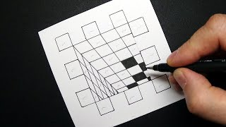 Op-Art Hole to the Deep - How to Draw 3D Hole - Optical Illusion