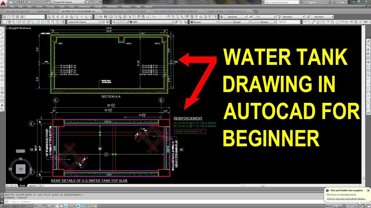 Underground water tank structural drawing