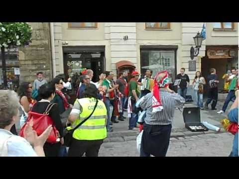 Euro 2012: Germany v Portugal - singing before match in Lviv