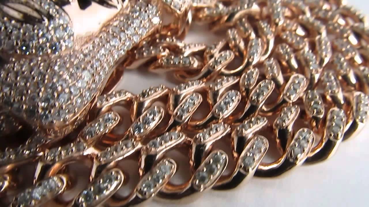Custom 10mm 925 Rose Gold Polish Cuban Link Chain Chain