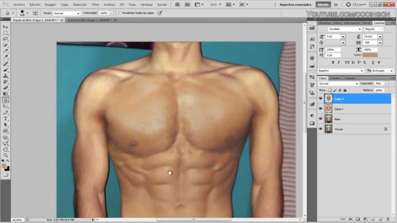 Videotutorial Photoshop: Crear cuerpo estilizado y musculoso - YouTube