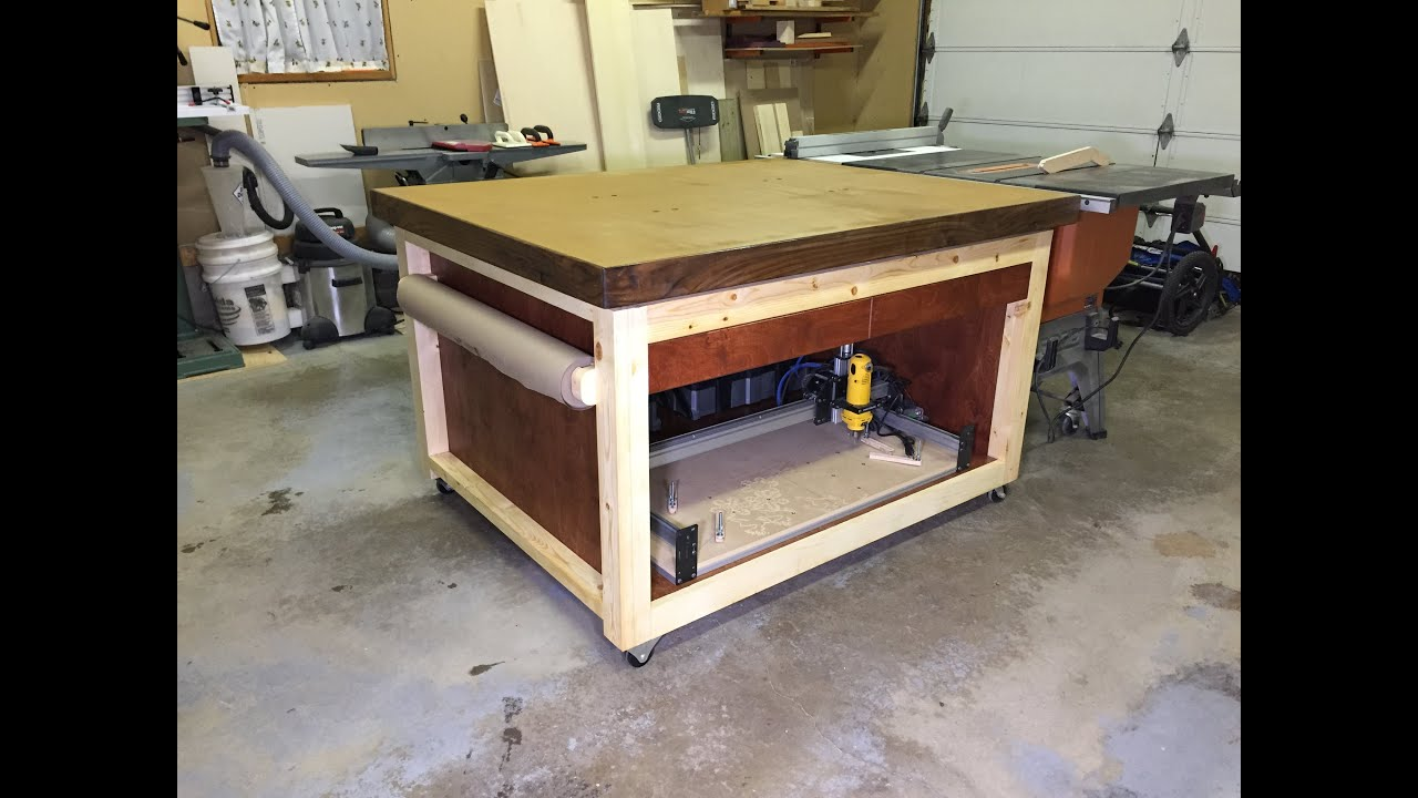 Diy Adjustable Workbench Outfeed Table Youtube