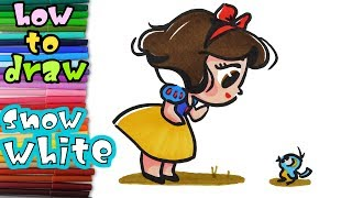 How to draw baby Snow White - ART SCHOOL for kids - learn to draw - drawing lessons - coloring pages