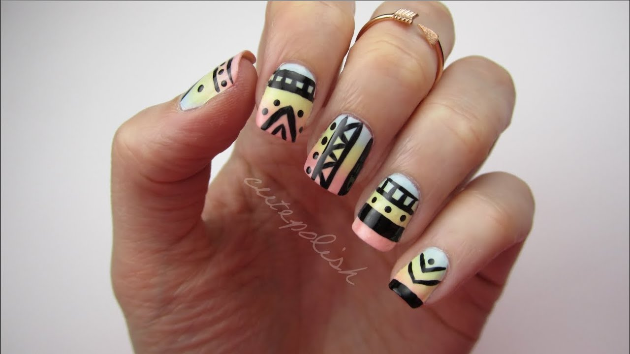 Easy Tribal Print Nails - YouTube