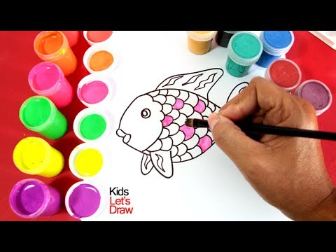 Cómo dibujar y pintar un Pez de Colores | Dibujos para Niños | Learn ...