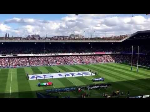 Scotland Rugby Union fans singing flower of Scotland at Murrayfield, Scotland v Italy. Powerful