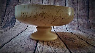 Woodturning - simple way to make pedestal bowl (resin inlay)