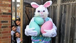 Heidi e Zidane brincam de caça aos ovos com o coelhinho da Páscoa | Surprise Eggs Hunt Pretend Play