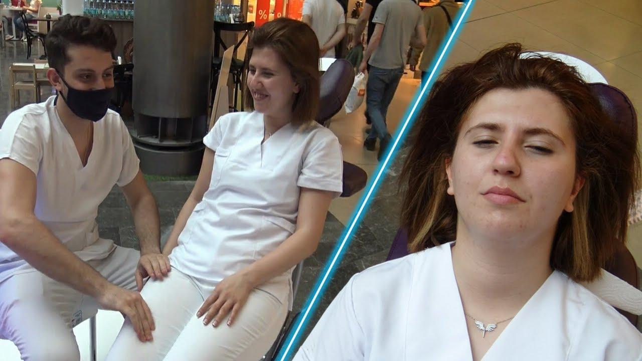 Berkant's incredible female massage &ASMR chair face, eyebrow, arm, palm, leg massage& bayan masajı