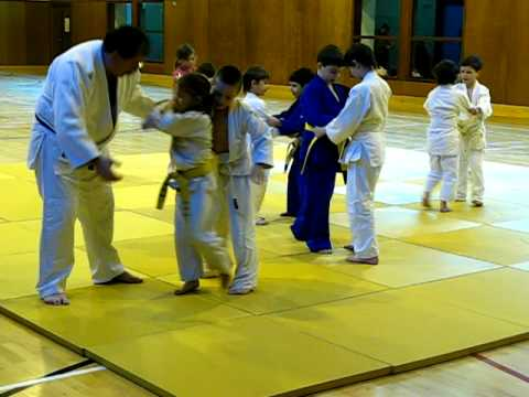 "Kids' judo class in ""Judo Leinster"" club, Ireland."