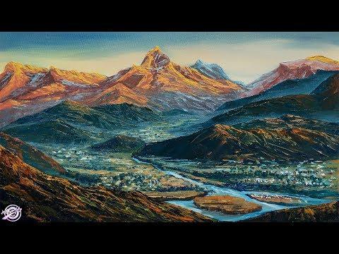 Pokhara Valley Painting | Beautiful Acrylic Landscape Painting | Art Candy
