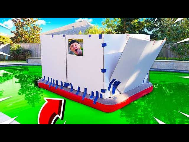BOX FORT BOAT IN A POOL OF SLIME!