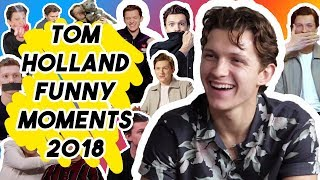 TOM HOLLAND FUNNY MOMENTS 2018   AVENGERS: INFINITY WAR