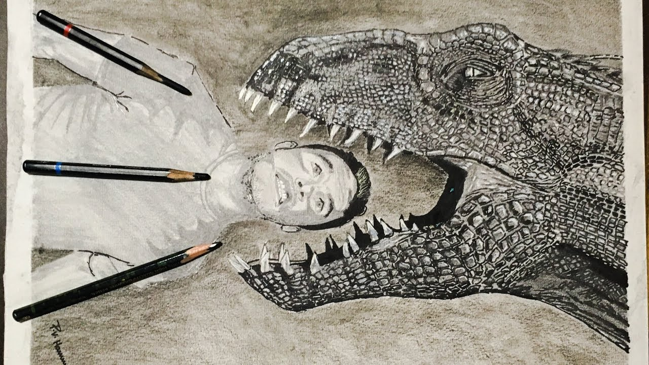 Indoraptor pencil drawing from jurassic world fallen kingdom fan art p v hanumanthu art