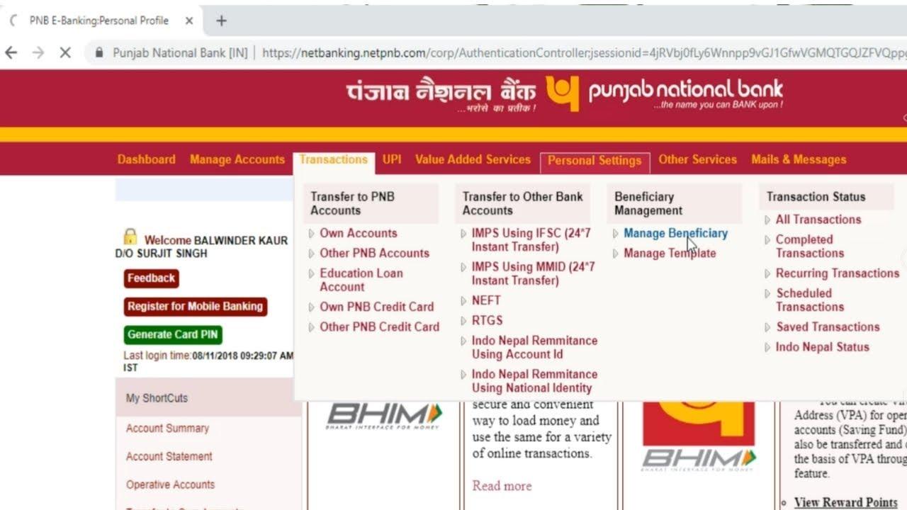 pnb internet banking start