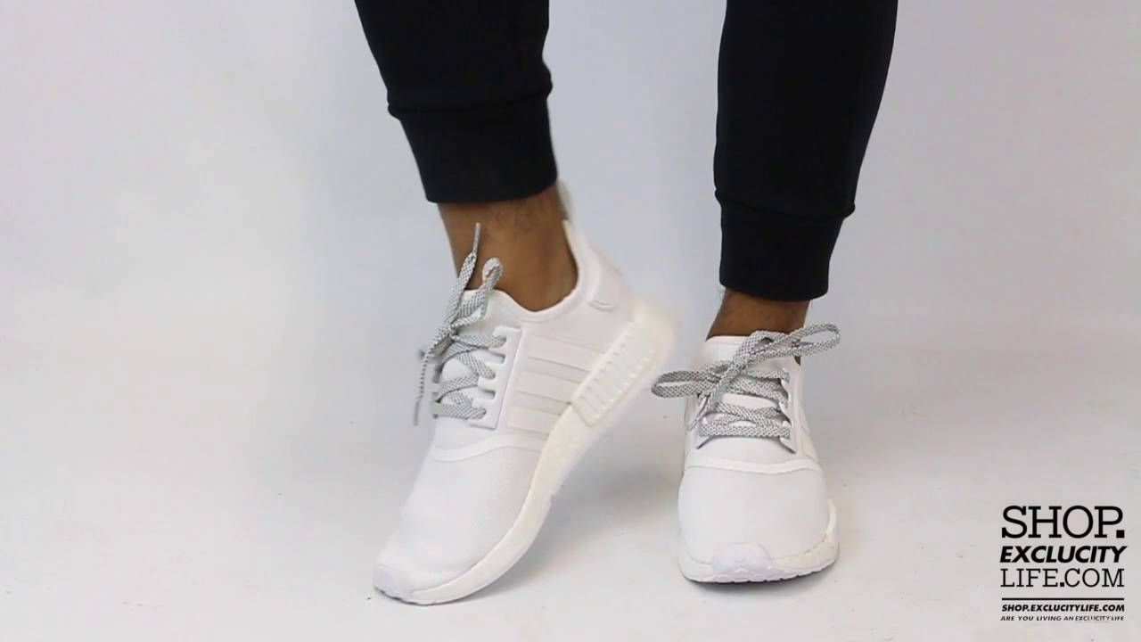 Adidas Nmd R1 Triple White On Feet Video At Exclucity Youtube